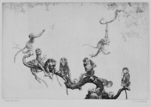 A cool Leonard Brightwell etching, The Dansant, large, pencil signed
