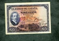 BILLETE 50 PESETAS 1927 SIN  SERIE 7660754 con sello II REPUBLICA  EBC -