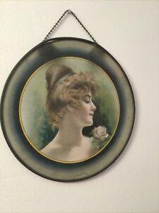"FLUE COVER LOT Victorian Woman Portrait Ribbon in Hair. 8.5"""