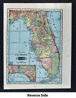 1903 Tunison Map - Florida - Alabama Mississippi Louisiana - Miami Tampa Orlando