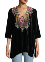 Johnny Was JWLA Black Cherelle 3/4 Sleeve Drape Velvet Top Embroidered J16918