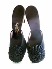 Vintage Blk Satin Shoes Pom-Pom Heels Boudoir Hollywood Daniel Green Party 6.5