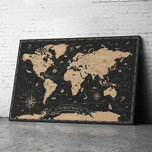 Large Framed Black Vintage World Map Of World Canvas Prints Wall Art