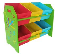 Kids Childrens Pencil Crayon 2 Tier Toy Wooden Storage Unit 6 Cube Bins Baskets