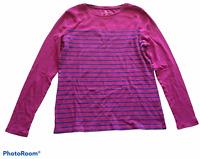 Woman's TALBOTS Purple Blue Stripped Top Blouse Shirt Long Sleeve Size Medium M