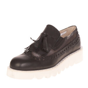 RRP €150 GIORDANA F. Loafer Shoes Size 39 UK 5 US 7 Contrast Leather Mesh