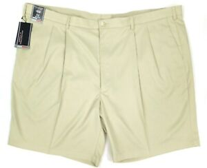 NWT Roundtree Yorke Travel Smart Beige Pleated Front Men's Shorts Size 48 50 52