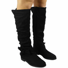 Womens Pixie Mid Calf Rouched Flat Pull on Knee Long Ladies Slouch BOOTS Size Black UK 7 / EU 40 / US 9