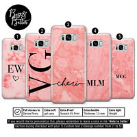 Personalised Rose Gold Marble initials Name Custom Phone Case Cover Samsung L1