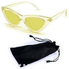 Cat Eye Sunglasses Black Frame Black Lens Shades with Pouch - CLEAR/YELLOW