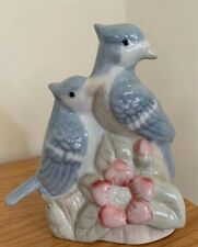 Vintage Artmark Ceramic Bluebird Couple On Stump W/Pink Flowers Night Light Lamp