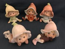 Homeco Pixie Flower Child Bisque Porcelain Figurines ~ Set of 5 ~ Fairy Elf