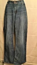 Twenty X Women's Size 13/34 Jeans Blue Denim Factory Distressed Five Pocket