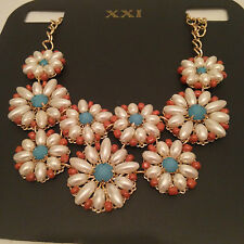 Forever 21 Necklace Turquoise Statement Multi-Color Bib Cocktail Length 19 inch