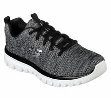 Womens Skechers Shoes Black Memory Foam Sport Casual Soft Mesh Fabric 12614 Lace