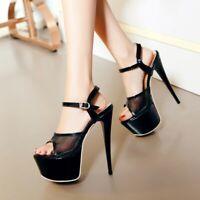 Women Ankle Strap Peep Toe Stiletto Platform Sandals High Heel Party Shoes Pumps