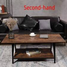 """Secondhand 47"""" Two-Tier Rustic Industrial Cocktail Wood and Metal Coffee Table"""