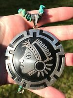 Vintage Mexican Sterling Silver Pendant Necklace Huge Taxco Aztec Mayan