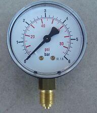 Lot de 4 Manomètre machine,,Pression 6 Bars,,Ø 62 mm,,kL 1,6,,Boitier Métal