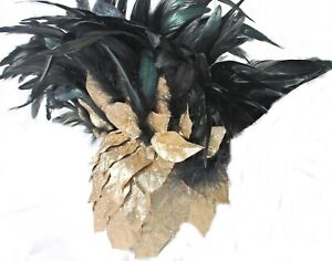 Gladiator Gold Leaves/Blk Feather Mohawk Spartan Roman Empire Hat USA Free Ship