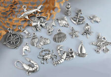 AHOY MATEY! 20 Marine & Nautical Charms, Antique Silver Mixed Collection Lot Set