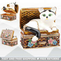 Cat Trinket Box with Hinged Lid Enamel Bejeweled Crystals Decor Pill Ring Casket