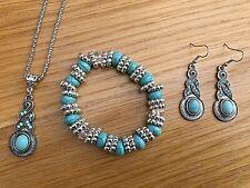 Earrings Bracelet Necklace Jewellery Set Vintage Antique Silver Turquoise Stone