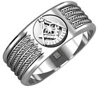 US Jewels Men's 8mm 0.925 Sterling Silver Past Master Masonic Ring Band