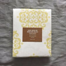 "west elm scroll medallion shower curtain cotton canvas 74""  x 72""  yellow Citron"