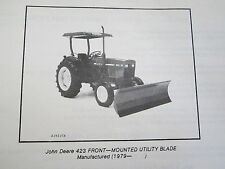 1979 JD JOHN DEERE 423 FRONT MOUNTED UTILITY TRACTOR BLADE PARTS CATALOG MANUAL
