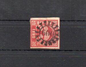 3 Kreuzer rot mit geschl. Mühlradstempel 600 Wunsiedel