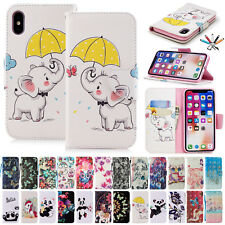 Pattern Card Slots Leather Case Flip Wallet Stand Cover For iPhone 7 8 6s Plus X