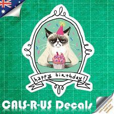 Grumpy Cat Not Happy Birthday Luggage Sticker Skateboard Guitar Fridge Laptop L6