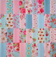 """BLUE & PINK COTTON FABRIC PATCHWORK QUILTING SQUARES CHOOSE  4"""" 5"""" 6"""" & 10"""""""