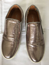 MELLOW YELLOW Pink Cracked Metallic Leather Loafer Platform Flats 39 UK6