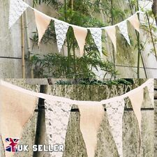 UK Vintage Lace Bunting Hessian Burlap Banner Flags Wedding Birthday Party Decor