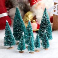 6Pcs Mini Sisal Christmas Trees Ornament Miniature Snow Frost Xmas Tree Decor