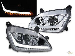Chrome LED Bar Projector Headlights w LED Signal For Peterbilt 11-19 579 587