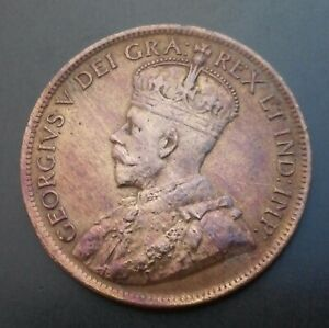 Canada 1 Cent 1915. KM#21. Large One Penny Coin. George V.