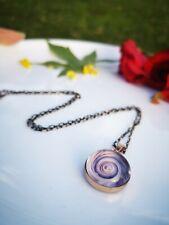 Handmade Stunning Purple Murano Glass Statement Pendant Necklace Bronze Chain