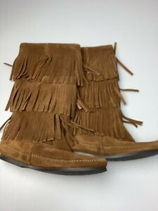 Minnetonka Brown Suede Calf Hi Layer Fringe Boot New Without Box 6/6.5