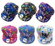 Original - R C  NY New York Splash Paint Snapback Flat Peak Snap Back Cap Hat