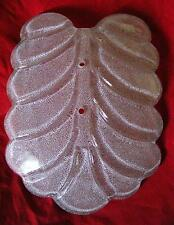 """Gorgeous! VINTAGE 10"""" X 7 1/4""""  Frosted White Murano Glass Leaf SHADE 2 Holes"""