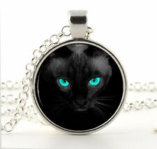 Black Cat Blue Eyes Pendant Necklace - Bright Eyed Animal Jewellery Picture Gift