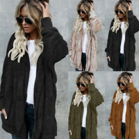 Fashion Women Cardigan Fur Jacket Outerwear Tops Winter Warm Sweater Fluffy Coat