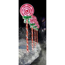 Set of 4 LED Lit (60) Lollipop Path Lights 60cm Premier Christmas Decorations