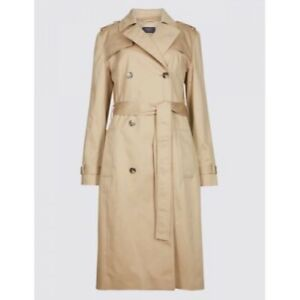 M&S COLLECTION  Pure Cotton Longline Trench  Stormwear PRP £79 ~ SIZE 8 ~ Beige