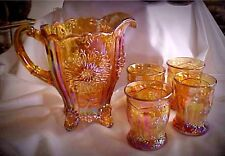 Mosser Glass Amber Carnival Dahlia Pitcher Tumblers Water Set