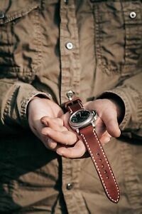 """Handmade """"cuoio"""" brown leather strap for Panerai with GPF buckle 27,26, 24,22mm"""
