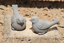 Vögel aus Terracotta,grau,2er Set,frostfest,ca. 15cm lang